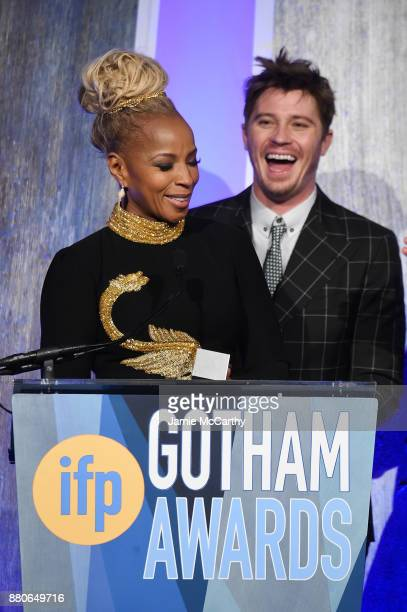 Mary J Blige and Garrett Hedlund speak onstage the 2017 IFP Gotham Awards at Cipriani Wall Street on November 27 2017 in New York City