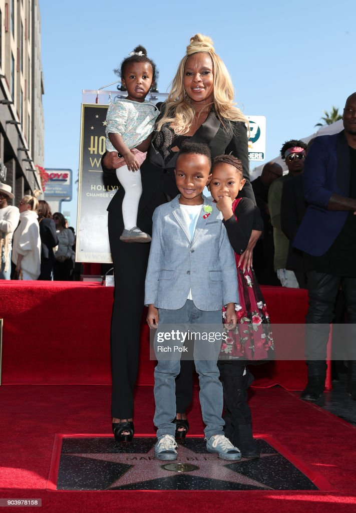 Mary J. Blige and her family attend the ceremony honoring Mary J. Blige with a Star on The Hollywood Walk of Fame on on January 11, 2018 in Hollywood, California.