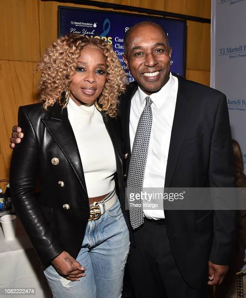 Mary J Blige and Honoree Jeffrey Harleston pose for a photo backstage during The TJ Martell Foundation 43rd New York Honors Gala at Cipriani 42nd...