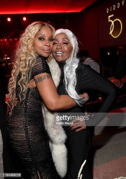 Mary J Blige and Janice Combs attend Sean Combs 50th Birthday Bash presented by Ciroc Vodka on December 14 2019 in Los Angeles California