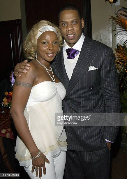 Mary J Blige and JayZ during Universal Music Group 2005 PostGRAMMY Party at The Palms Restaurant in Los Angeles California United States