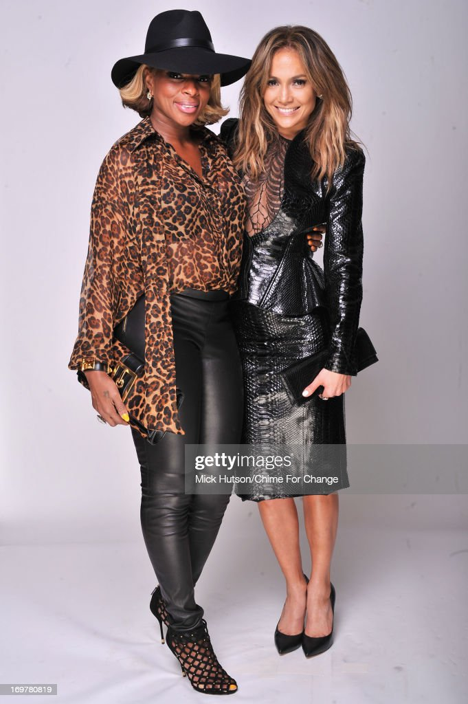 Mary J Blige and Jennifer Lopez pose for a portrait backstage at the 'Chime For Change: The Sound Of Change Live' Concert at Twickenham Stadium on June 1, 2013 in London, England. Chime For Change is a global campaign for girls' and women's empowerment founded by Gucci with a founding committee comprised of Gucci Creative Director Frida Giannini, Salma Hayek Pinault and Beyonce Knowles-Carter.