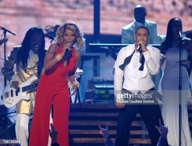 """Mary J. Blige and Ludacris perform """"Runaway Love"""" during The 49th Annual GRAMMY Awards - Show at Staples Center in Los Angeles, California, United..."""