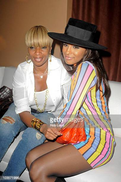 Mary J Blige and Melody Thornton attend CIROC Vodka and Swizz Beatz Celebrate YRB's Art Issue at Lucky Strike Lanes Lounge on August 23 2010 in New...
