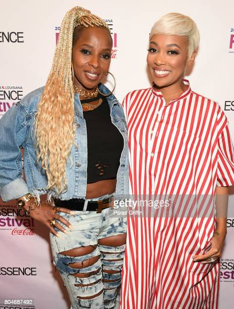 Mary J Blige and Monica pose backstage at the 2017 ESSENCE Festival presented by CocaCola at Ernest N Morial Convention Center on June 30 2017 in New...