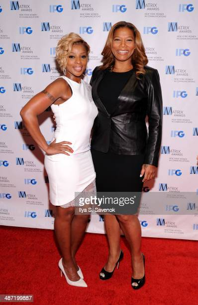 Mary J Blige and Queen Latifah attend the 2014 Matrix Awards at The Waldorf=Astoria on April 28 2014 in New York City
