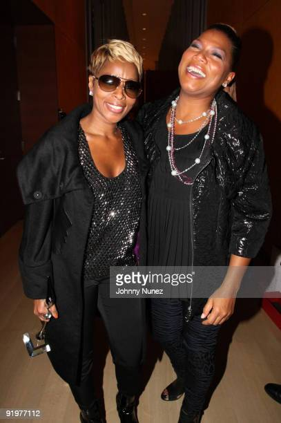 Mary J Blige and Queen Latifah attend the 4th annual Black Girls Rock awards at The New York Times Center on October 17 2009 in New York City