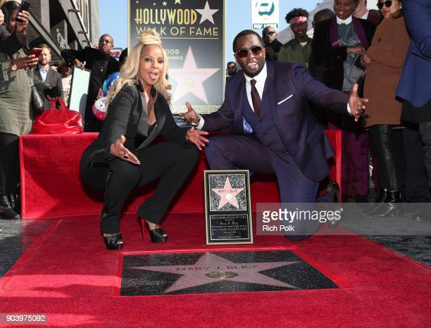 Mary J Blige and Sean 'Diddy' Combs attend the ceremony honoring Mary J Blige with a Star on The Hollywood Walk of Fame on on January 11 2018 in...
