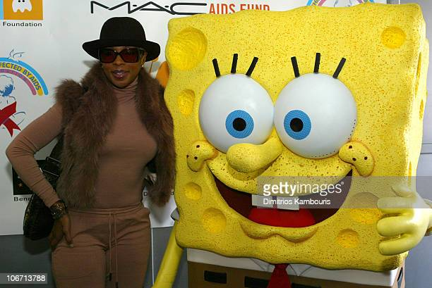 Mary J Blige and SpongeBob SquarePants during MAC Cosmetics Viva Glam Spokeswoman Mary J Blige Hosts The First Ever Dream Halloween Event To Benefit...