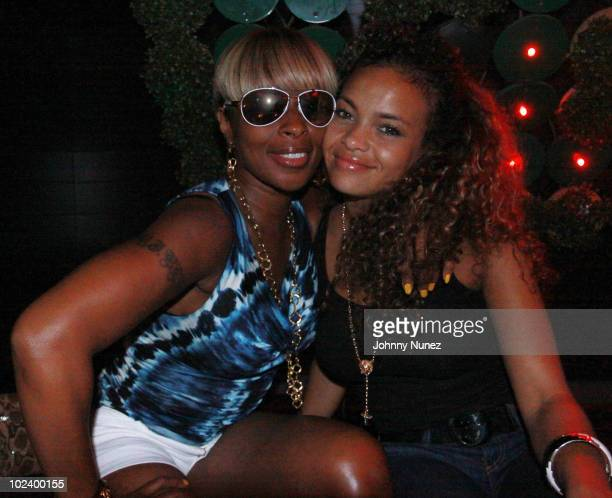 Mary J Blige and Starshelle attend John Wall's NBA Draft celebration at Greenhouse on June 24 2010 in New York City