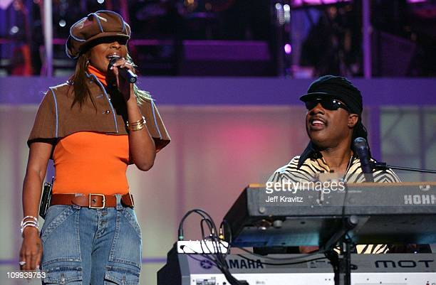 Mary J Blige and Stevie Wonder during VH1 Divas Duets A Concert to Benefit the VH1 Save the Music Foundation Show at MGM Grand in Las Vegas Nevada...