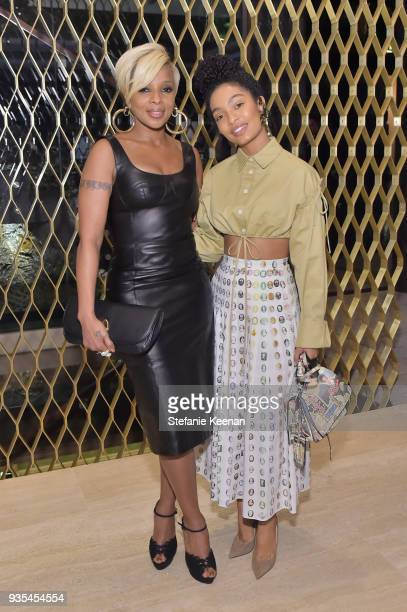 Mary J Blige and Yara Shahidi attend The Hollywood Reporter and Jimmy Choo Power Stylists Dinner on March 20 2018 in Los Angeles California