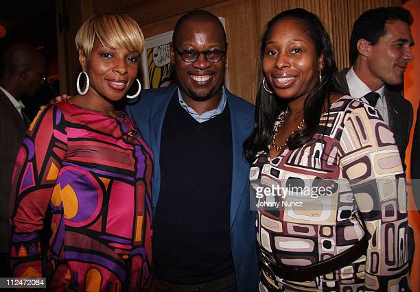Mary J. Blige, Andre Harrell and LaTonya Blige attend Andre Harrell's celebration dinner hosted by Lyor Cohen at a Private Residence on January 26,...