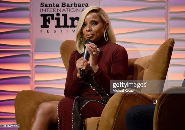 Mary J Blige appears onstage before receiving the Virtuosos Award at The Santa Barbara International Film Festival on February 3 2018 in Santa...