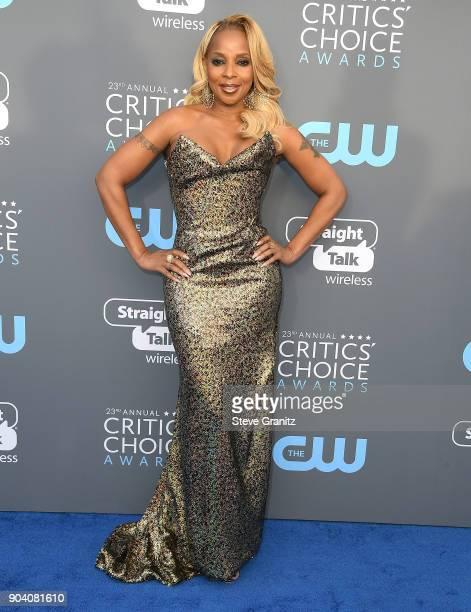 Mary J Blige arrives at the The 23rd Annual Critics' Choice Awards at Barker Hangar on January 11 2018 in Santa Monica California