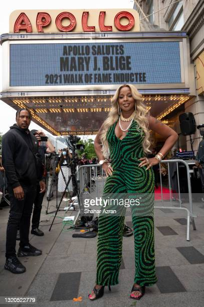 Mary J Blige attends a ceremony for induction into the Apollo Walk of Fame at The Apollo Theater on May 28, 2021 in New York City.
