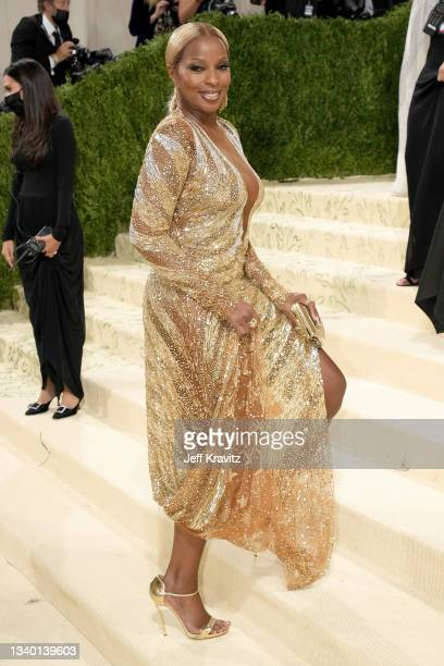 Mary J. Blige attends The 2021 Met Gala Celebrating In America: A Lexicon Of Fashion at Metropolitan Museum of Art on September 13, 2021 in New York...