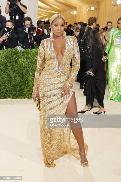 Mary J Blige attends The 2021 Met Gala Celebrating In America: A Lexicon Of Fashion at Metropolitan Museum of Art on September 13, 2021 in New York...