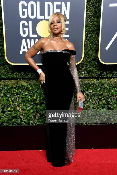 Mary J Blige attends The 75th Annual Golden Globe Awards at The Beverly Hilton Hotel on January 7 2018 in Beverly Hills California