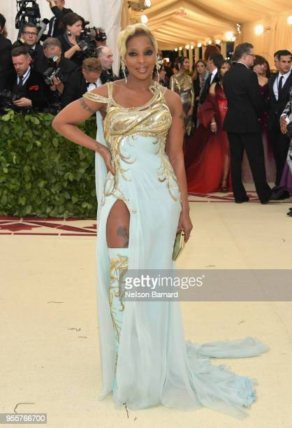 Mary J Blige attends the Heavenly Bodies Fashion The Catholic Imagination Costume Institute Gala at The Metropolitan Museum of Art on May 7 2018 in...