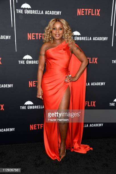 """Mary J. Blige attends the premiere of Netflix's """"The Umbrella Academy"""" at ArcLight Hollywood on February 12, 2019 in Hollywood, California."""