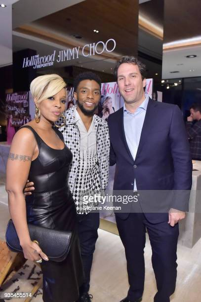 Mary J Blige Chadwick Boseman and The Hollywood Reporter Editorial Director Matthew Belloni attend The Hollywood Reporter and Jimmy Choo Power...
