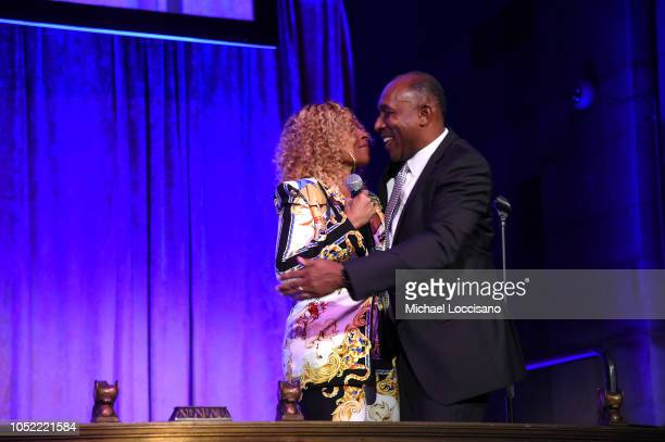 Mary J Blige congratulates Honoree Jeffrey Harleston on stage during The TJ Martell Foundation 43rd New York Honors Gala at Cipriani 42nd Street on...