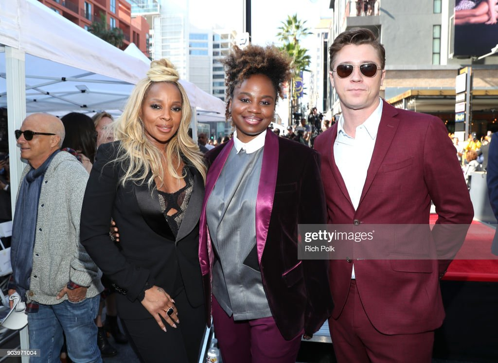 Mary J. Blige, Dee Rees and Garrett Hedlund attend the ceremony honoring Mary J. Blige with a Star on The Hollywood Walk of Fame on January 11, 2018 in Hollywood, California.
