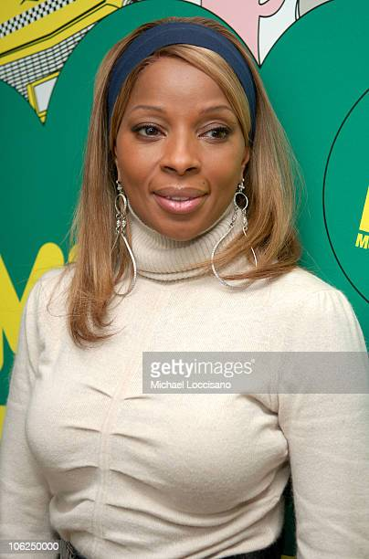 Mary J Blige during Mary J Blige Young Jeezy and Tyrese Visit MTV's TRL December 12 2006 at MTV Studios Times Square in New York City New York United...