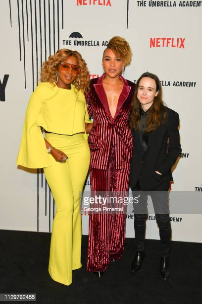 Mary J Blige Emmy RaverLampman and Ellen Page attend the premiere of Netflix's 'The Umbrella Academy' at TIFF Bell Lightbox on February 14 2019 in...