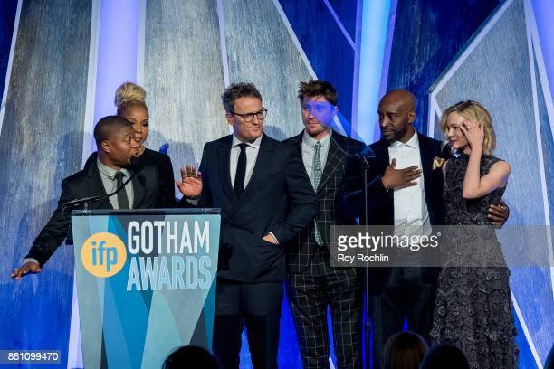 Mary J Blige Garrett Hedlund Jason Clarke Rob Morgan Carrie Mulligan and Jason Mitchell onstage during IFP's 27th Annual Gotham Independent Film...