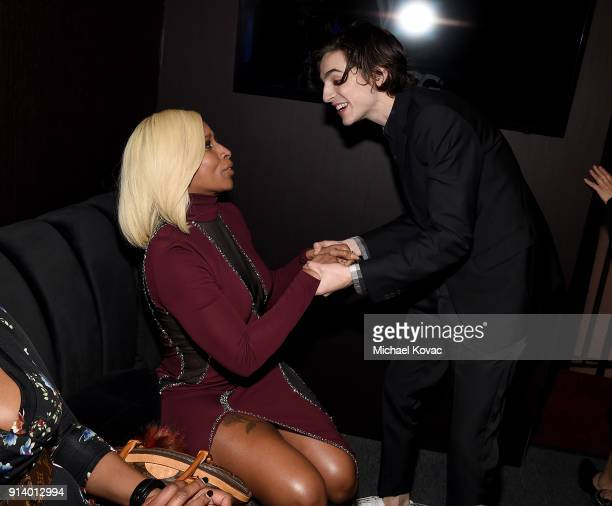 Mary J Blige greets Timothee Chalamet in the Dom Perignon Lounge before receiving the Virtuosos Award at The Santa Barbara International Film...
