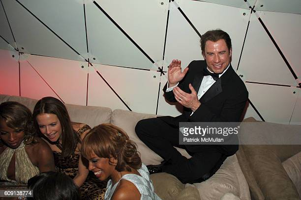 Mary J Blige Kelly Preston John Travolta and Gayle King attend VANITY FAIR Oscar Party at Morton's on February 25 2007 in Los Angeles CA