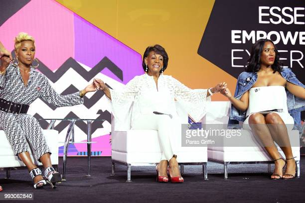 Mary J Blige Maxine Waters and Alencia Johnson speak onstage during the 2018 Essence Festival presented by CocaCola at Ernest N Morial Convention...