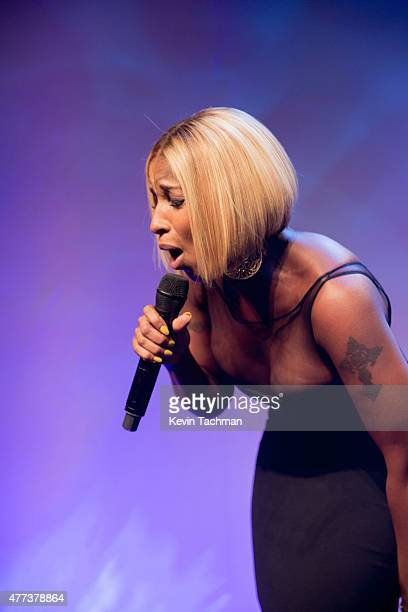 Mary J Blige performs during the 2015 amfAR Inspiration Gala New York at Spring Studios on June 16 2015 in New York City