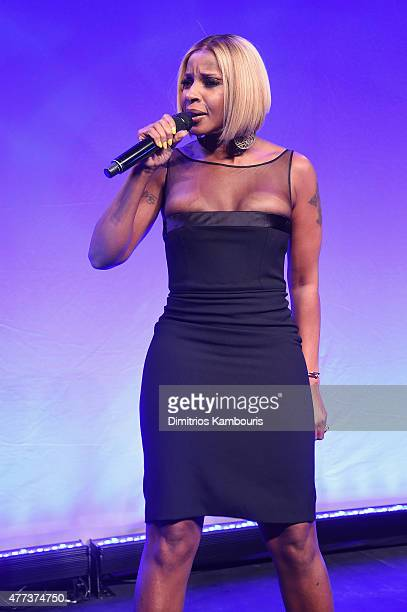 Mary J Blige performs onstage at the 2015 amfAR Inspiration Gala New York at Spring Studios on June 16 2015 in New York City