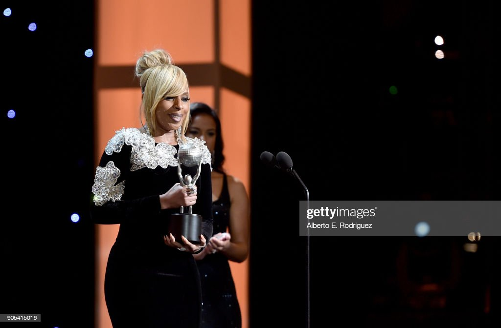 Mary J. Blige presents the Entertainer of the Year award onstage during the 49th NAACP Image Awards at Pasadena Civic Auditorium on January 15, 2018 in Pasadena, California.
