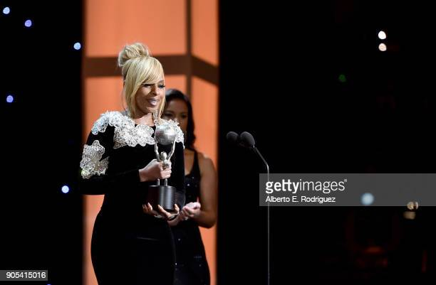 Mary J Blige presents the Entertainer of the Year award onstage during the 49th NAACP Image Awards at Pasadena Civic Auditorium on January 15 2018 in...