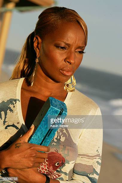Mary J Blige records her contribution to the new disaster relief charity single a cover of the Sir Eric Clapton ballad 'Tears In Heaven' at Ozzy...
