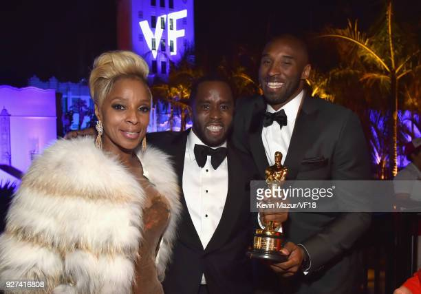 Mary J Blige Sean Combs and Kobe Bryant attend the 2018 Vanity Fair Oscar Party hosted by Radhika Jones at Wallis Annenberg Center for the Performing...