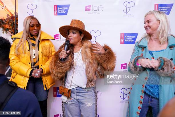 Mary J Blige Simone I Smith and Julianne Rymsha attend as Mary J Blige and Simone I Smith launch their Sister Love Jewelry Holiday Pop Up Shop In...