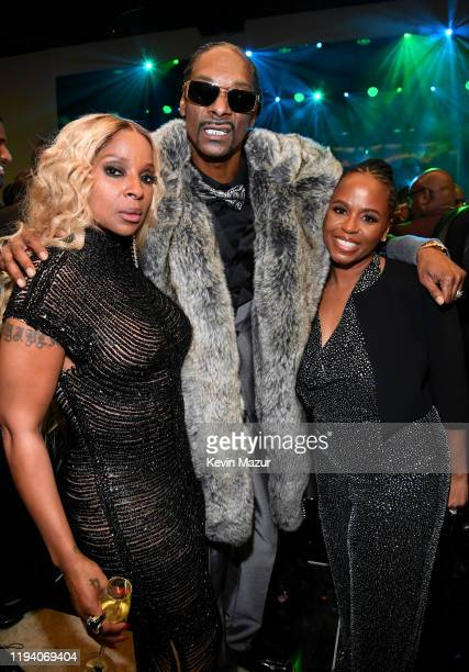 Mary J Blige Snoop Dogg and Shante Broadus attend Sean Combs 50th Birthday Bash presented by Ciroc Vodka on December 14 2019 in Los Angeles California