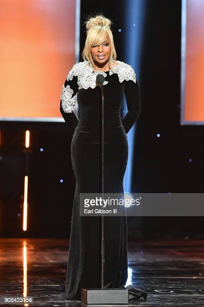 Mary J Blige speaks onstage at the 49th NAACP Image Awards on January 15 2018 in Pasadena California