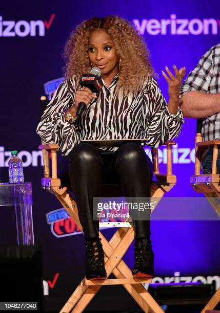 Mary J Blige speaks onstage at the Netflix Chills panel during New York Comic Con 2018 at Jacob K Javits Convention Center on October 5 2018 in New...
