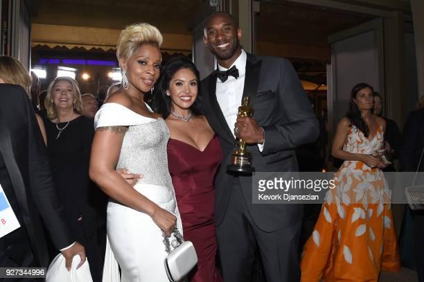 Mary J. Blige, Vanessa Laine Bryant, and filmmaker Kobe Bryant, winner of the Best Animated Short Film award for 'Dear Basketball,' attend the 90th...