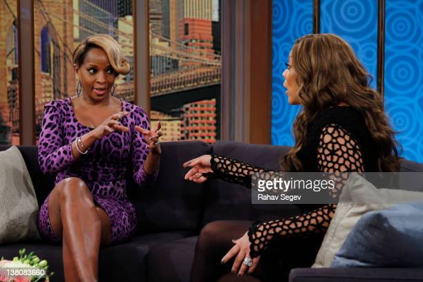 Mary J Blige visits The Wendy Williams Show at The Wendy Williams Show Studio on February 2 2012 in New York City