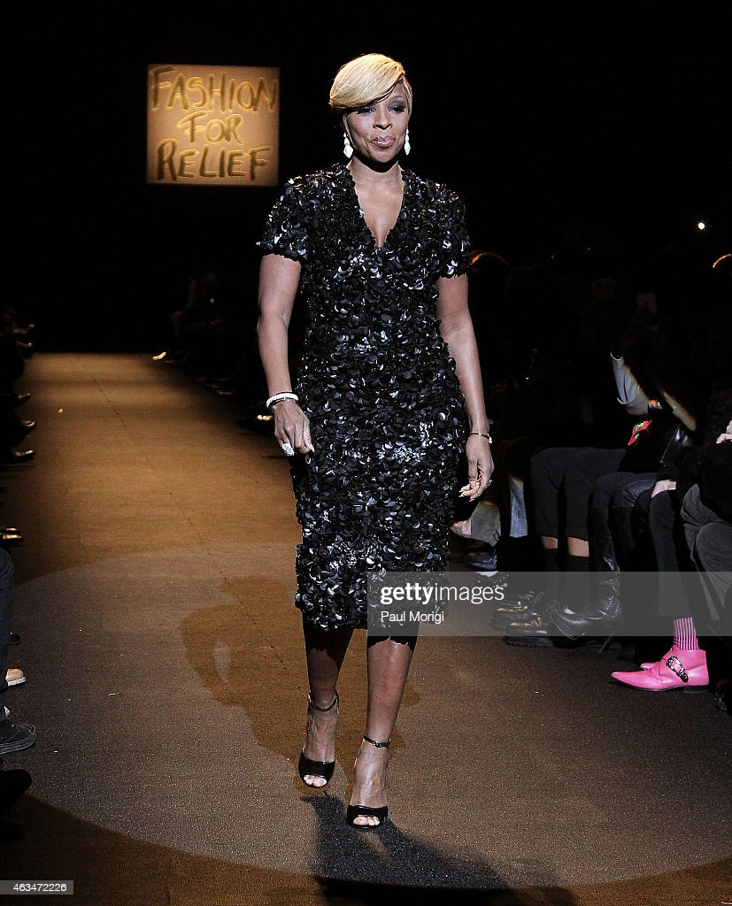 Mary J. Blige walks the runway at Naomi Campbell's Fashion For Relief Charity Fashion Show during Mercedes-Benz Fashion Week Fall 2015 at The Theatre at Lincoln Center on February 14, 2015 in New York City.
