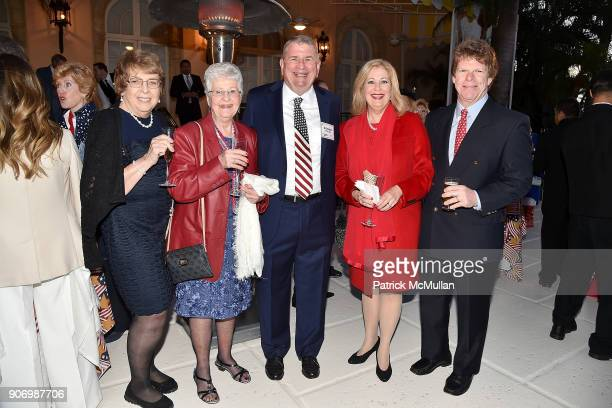 Mary Jane Russell Peggy Fly Richard Enslein Patricia Boyer and Casey Boyer attend President Trump's one year anniversary with over 800 guests at the...