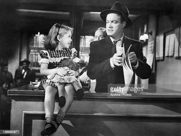 Mary Jane Saunders talking to Bob Hope in a scene from the film 'Sorrowful Jones' 1949