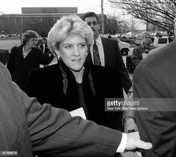 Mary Jo Buttafuoco arrives at Nassau County Court for Amy Fisher's sentencing